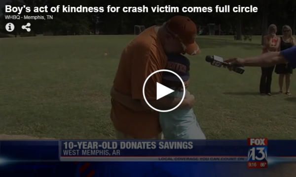 Boy's act of kindness for crash victim comes full circle