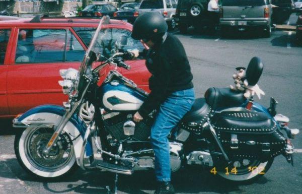 Judy Fiduccia on her Harley Softail Custom Classic