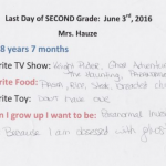 Last day of 2nd grade highlight sheet