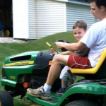 Mowing the lawn with Daddy