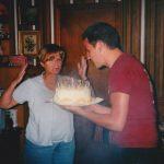 Nana's birthday cake almost on fire