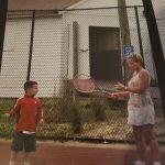 Nana teaches Ryan tennis